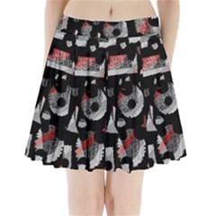 Red Shadows Pleated Mini Skirt
