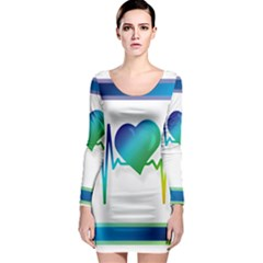 Icon Blood Pressure Pulse Frequency Long Sleeve Bodycon Dress