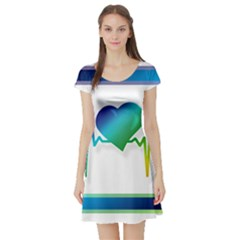 Icon Blood Pressure Pulse Frequency Short Sleeve Skater Dress