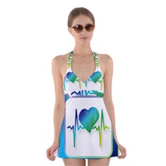 Icon Blood Pressure Pulse Frequency Halter Swimsuit Dress