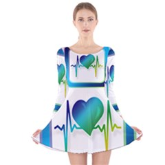 Icon Blood Pressure Pulse Frequency Long Sleeve Velvet Skater Dress