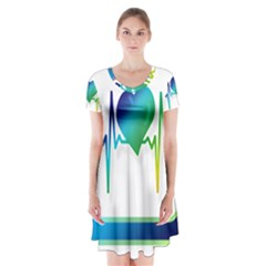 Icon Blood Pressure Pulse Frequency Short Sleeve V-neck Flare Dress