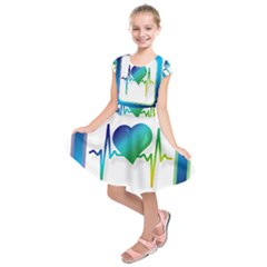 Icon Blood Pressure Pulse Frequency Kids  Short Sleeve Dress