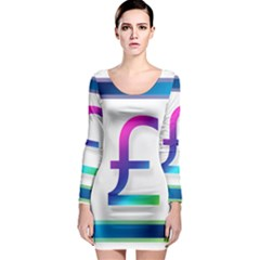 Icon Pound Money Currency Symbols Long Sleeve Bodycon Dress