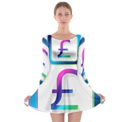 Icon Pound Money Currency Symbols Long Sleeve Skater Dress