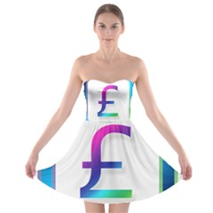 Icon Pound Money Currency Symbols Strapless Bra Top Dress