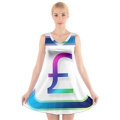 Icon Pound Money Currency Symbols V-Neck Sleeveless Skater Dress