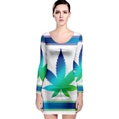 Icon Hemp Cannabis Medical  Long Sleeve Bodycon Dress
