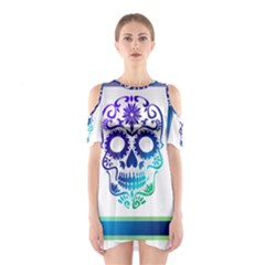 Icon Skull And Crossbones Symbols Cutout Shoulder Dress