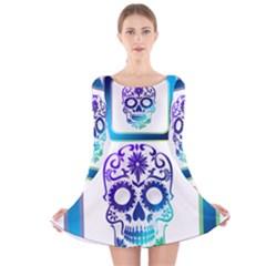 Icon Skull And Crossbones Symbols Long Sleeve Velvet Skater Dress