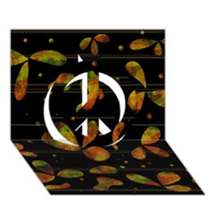 Floral Abstraction Peace Sign 3d Greeting Card (7x5)