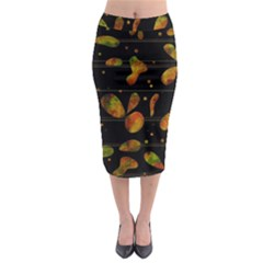 Floral Abstraction Midi Pencil Skirt