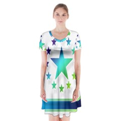 Icon Star Europe Symbols Online Short Sleeve V-neck Flare Dress