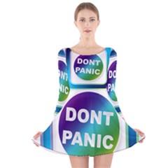 Icon Panic Symbols Online Internet  Long Sleeve Velvet Skater Dress