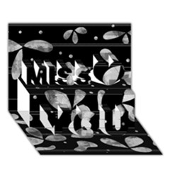 Black and white floral abstraction Miss You 3D Greeting Card (7x5)