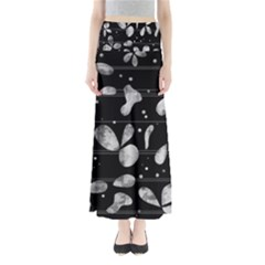 Black and white floral abstraction Maxi Skirts