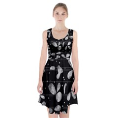 Black and white floral abstraction Racerback Midi Dress