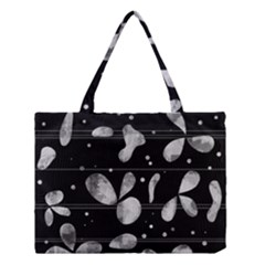 Black And White Floral Abstraction Medium Tote Bag