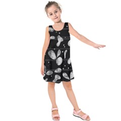 Black and white floral abstraction Kids  Sleeveless Dress