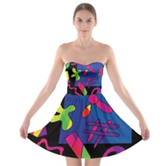 Colorful shapes Strapless Bra Top Dress