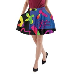 Colorful shapes A-Line Pocket Skirt