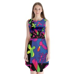 Colorful Shapes Sleeveless Chiffon Dress