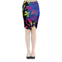 Colorful shapes Midi Wrap Pencil Skirt