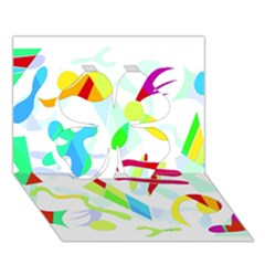 Playful Shapes Clover 3d Greeting Card (7x5)
