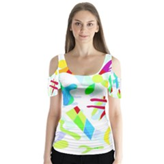 Playful shapes Butterfly Sleeve Cutout Tee