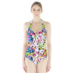 Colorful pother Halter Swimsuit