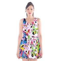 Colorful pother Scoop Neck Skater Dress
