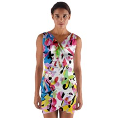 Colorful pother Wrap Front Bodycon Dress