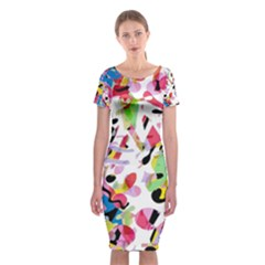 Colorful pother Classic Short Sleeve Midi Dress