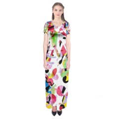 Colorful pother Short Sleeve Maxi Dress