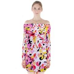 Pink Pother Long Sleeve Off Shoulder Dress