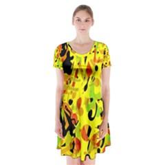 Fire Short Sleeve V Neck Flare Dress