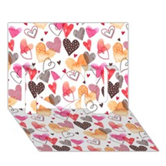 Colorful Cute Hearts Pattern I Love You 3D Greeting Card (7x5)
