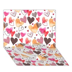 Colorful Cute Hearts Pattern Heart Bottom 3D Greeting Card (7x5)