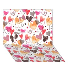 Colorful Cute Hearts Pattern Clover 3D Greeting Card (7x5)