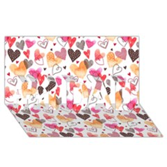 Colorful Cute Hearts Pattern #1 DAD 3D Greeting Card (8x4)