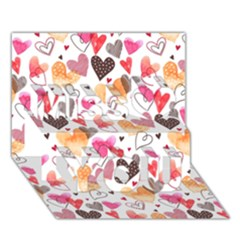 Colorful Cute Hearts Pattern Miss You 3d Greeting Card (7x5)