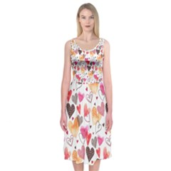 Colorful Cute Hearts Pattern Midi Sleeveless Dress