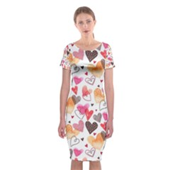 Colorful Cute Hearts Pattern Classic Short Sleeve Midi Dress