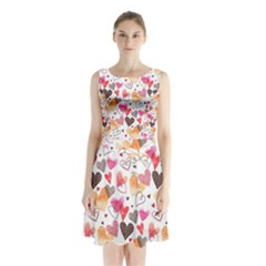 Colorful Cute Hearts Pattern Sleeveless Chiffon Waist Tie Dress