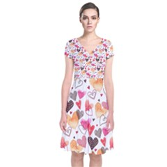 Colorful Cute Hearts Pattern Short Sleeve Front Wrap Dress
