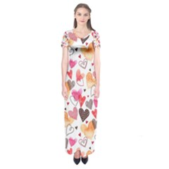Colorful Cute Hearts Pattern Short Sleeve Maxi Dress
