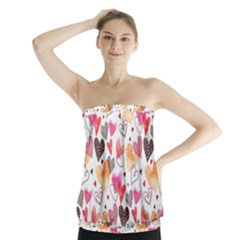 Colorful Cute Hearts Pattern Strapless Top