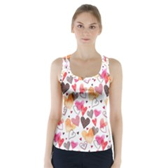 Colorful Cute Hearts Pattern Racer Back Sports Top