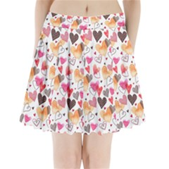 Colorful Cute Hearts Pattern Pleated Mini Skirt