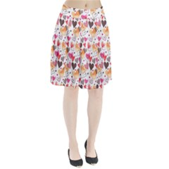 Colorful Cute Hearts Pattern Pleated Skirt